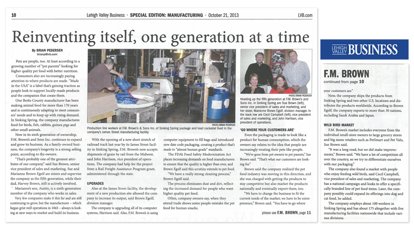 Lehigh Valley Business Article
